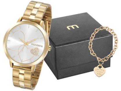Relógio Feminino Mondaine Dourado 32102LPMKDE1K1 e Pulseira c/ Berloque Coração