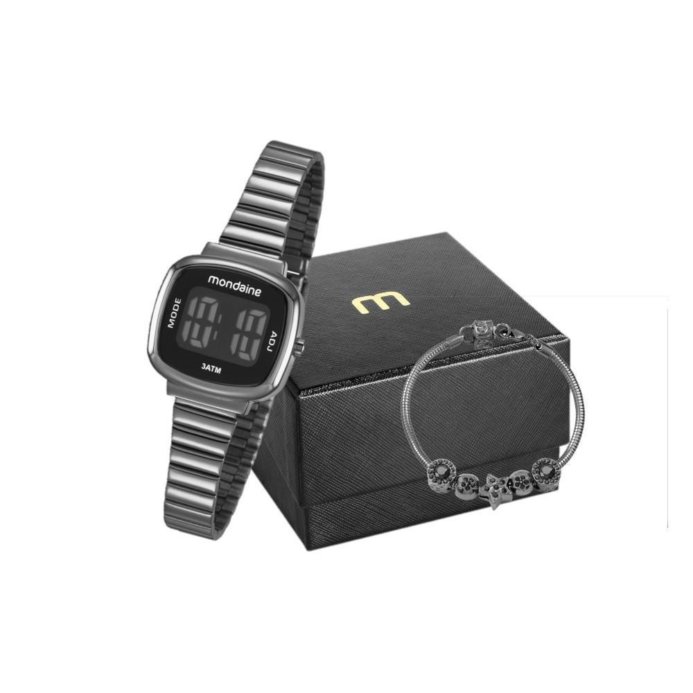 Kit Relógio Feminino Mondaine Pulseira de Aço Inoxidável Chumbo Fundo Lcd Negativo e Pulseira Berloque 53717LPMVPE3K1