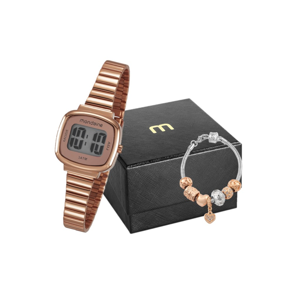 Kit Relógio Feminino Mondaine Pulseira de Aço Inoxidável Rose Gold Fundo Lcd Positivo e Pulseira Berloque 53717LPMVRE2K1