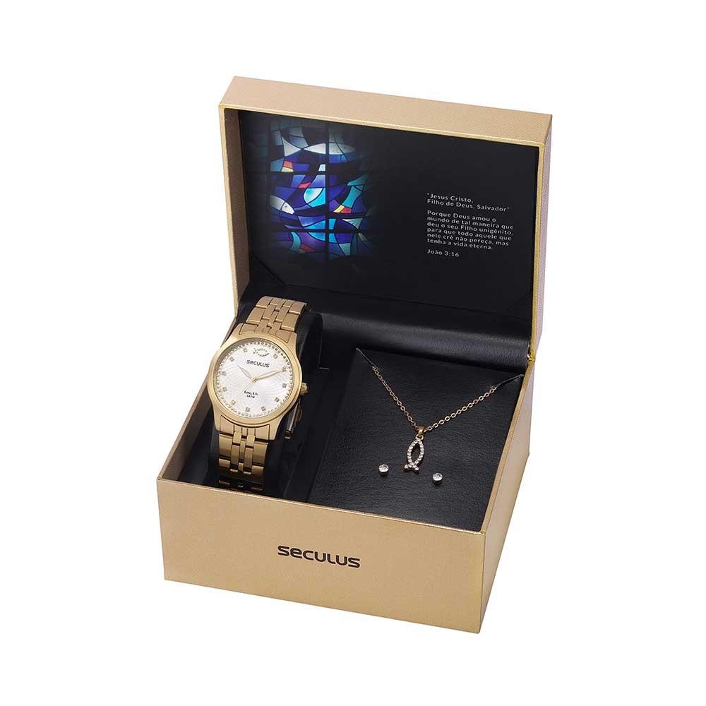 Kit Relógio Feminino Seculus Aço Dourada Prata e Peixe Cristianismo