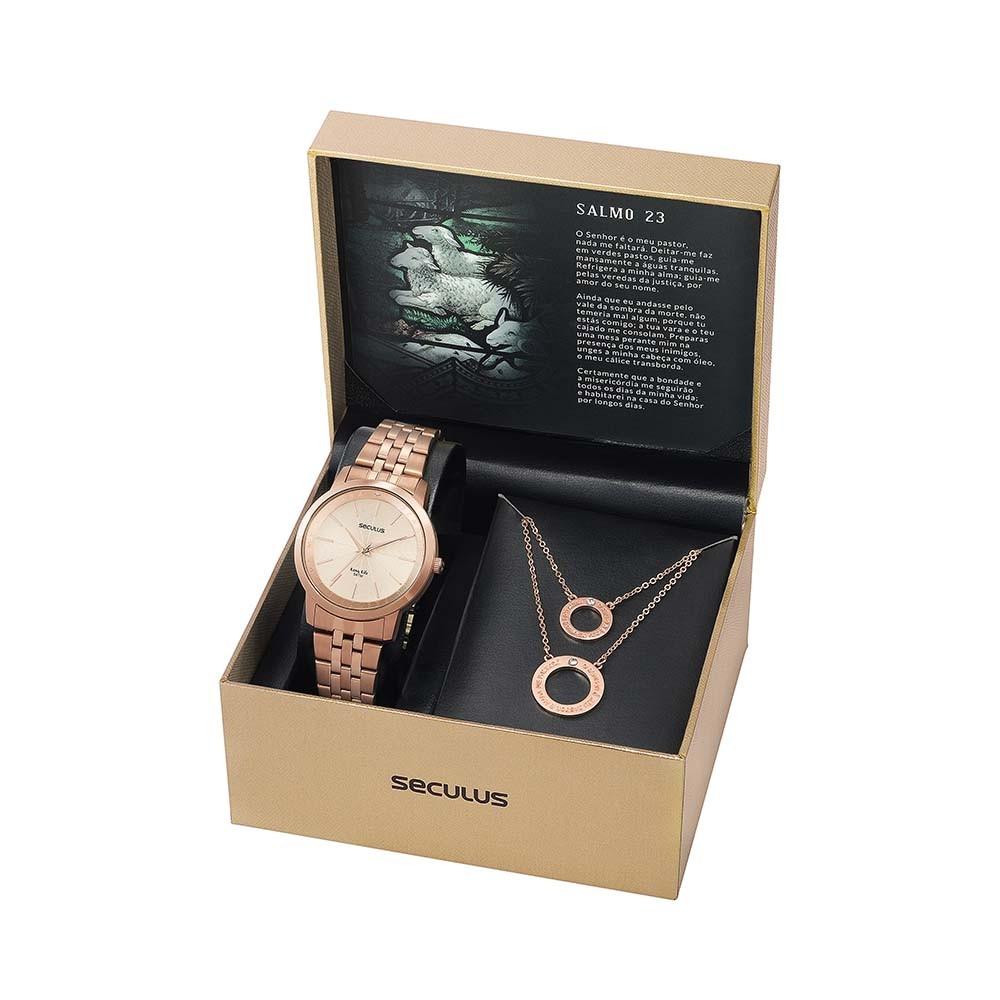 Kit Relógio Feminino Seculus Aço Rose Gold Rose Gold e Pingente Salmo 23 20890LPSKRA2K1