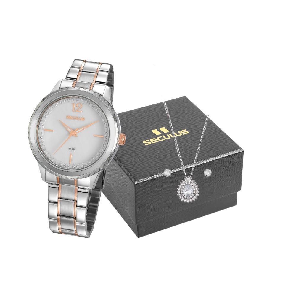 Kit Relógio Feminino Seculus Aço Prata & Rose Gold Madreperola e Colar com Brincos 20894LPSVGS1K1