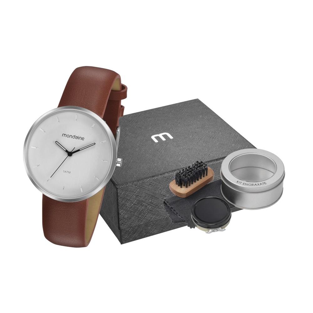 Kit Relógio Masculino Mondaine Pulseira de Couro Sintético Marrom Fundo Branco e Acessórios Engraxate 32137G0MVNH2K1