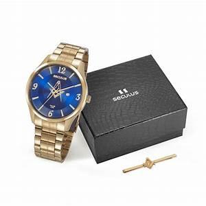 Kit Relógio Masculino Seculus Aço Dourada Azul e Pin de Gravata 20762GPSKDA1K1