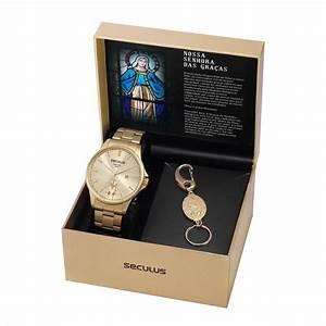 Kit Relógio Masculino Seculus Aço Dourada Champagne e Pingente Nsra. das Graças 35028GPSKDA1K1
