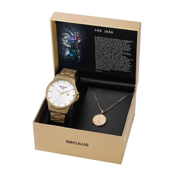 Kit Relógio Masculino Seculus Aço Dourada Prata e Pingente São João 35015GPSKDA1K1