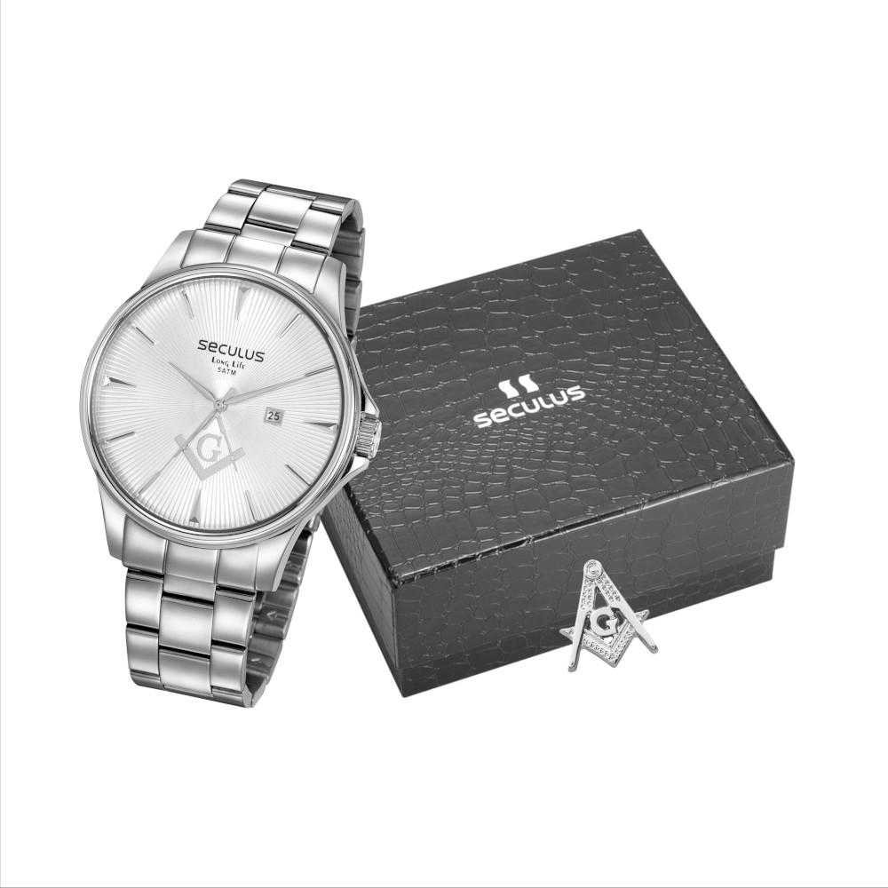 Kit Relógio Masculino Seculus Aço Prata Prata e Pin Esquadro e Compasso 35012G0SVNA2K1