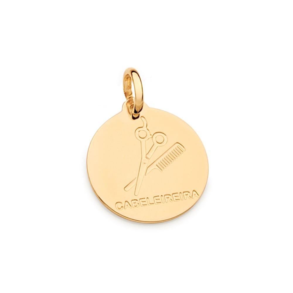 Medalha profissão cabelereira rommanel 542326 folheada a ouro