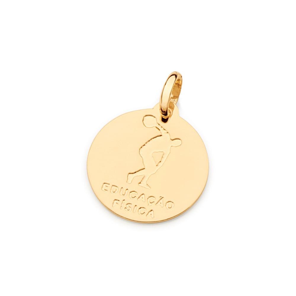Medalha rommanel profissão educação física 542335 folheada ouro