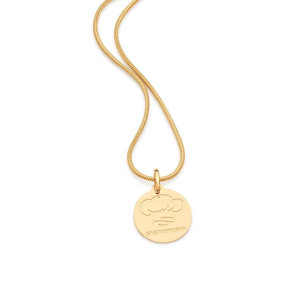 Medalha profissão Gastronomia 542329 Rommanel folheada a ouro