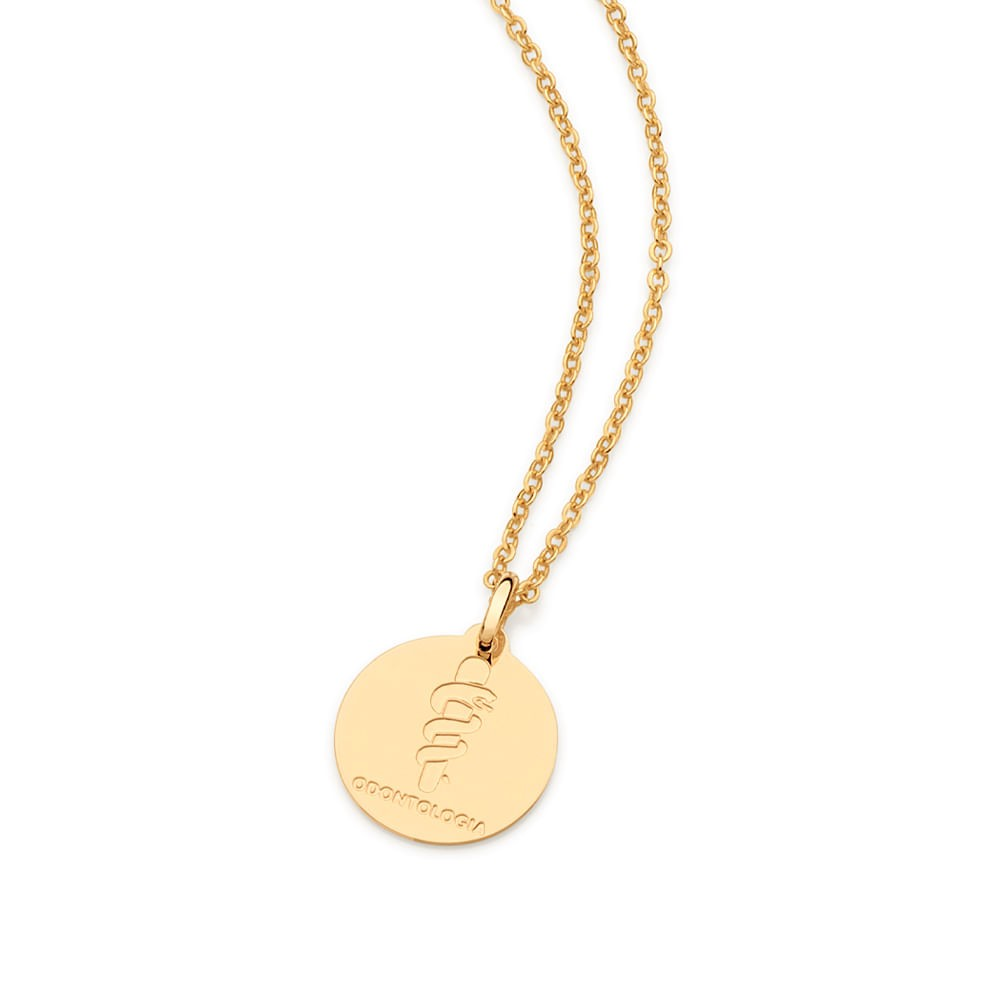Medalha profissão Odontologia 542331 rommanel folheada a ouro