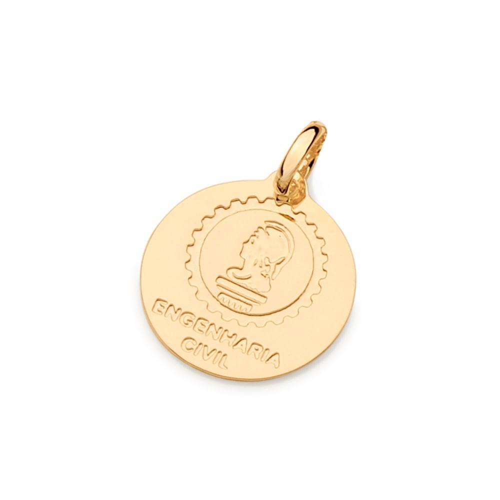 Medalha profissão Engenharia Civil Rommanel 542328 folheada ouro