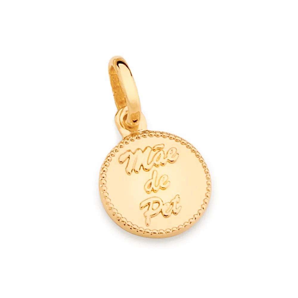 Medalha Rommanel Mãe de Pet 542388 folheada a ouro