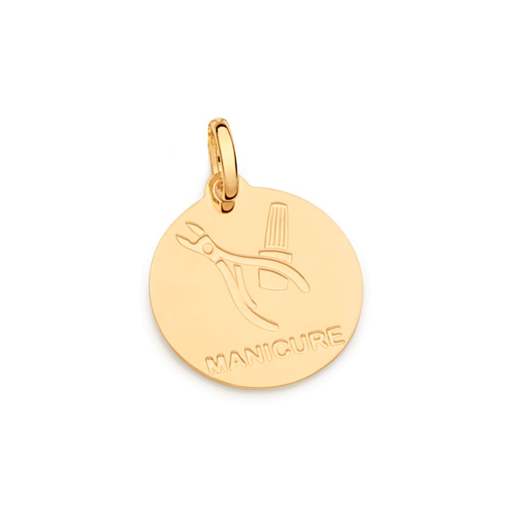 Medalha profissão manicure rommanel 542330 folheada a ouro