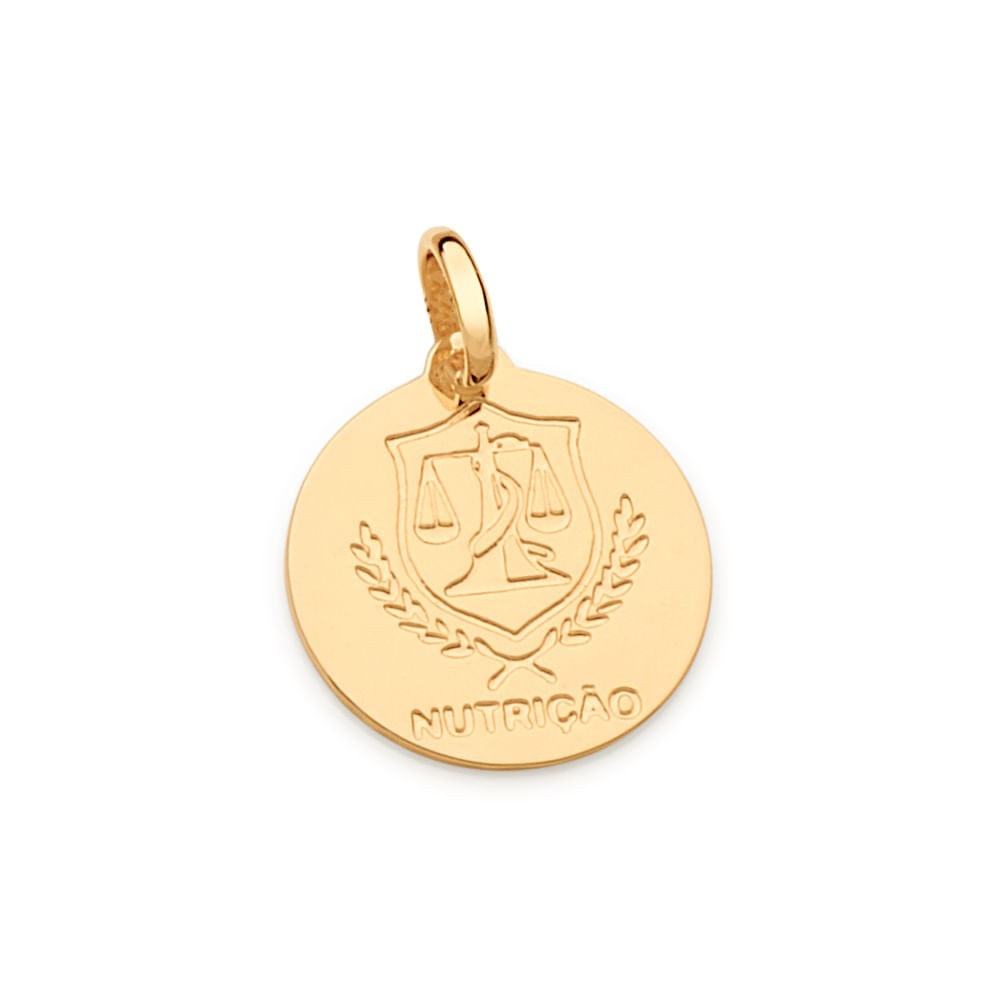 Medalha profissão Nutrição rommanel  542332 folheada a ouro