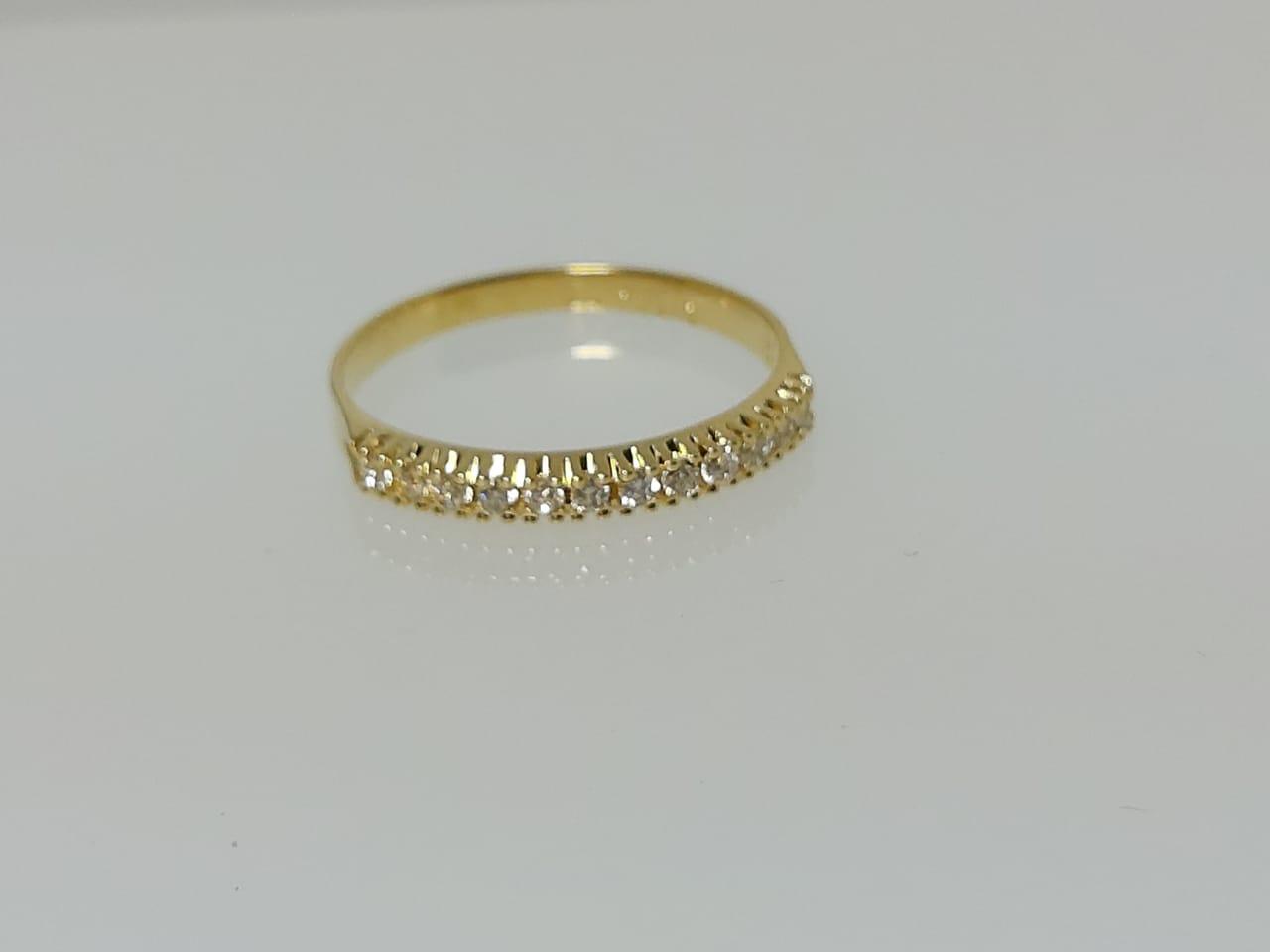 Meia Aliança com Zircônia Diamante GC Folheado a Ouro 0360173020000