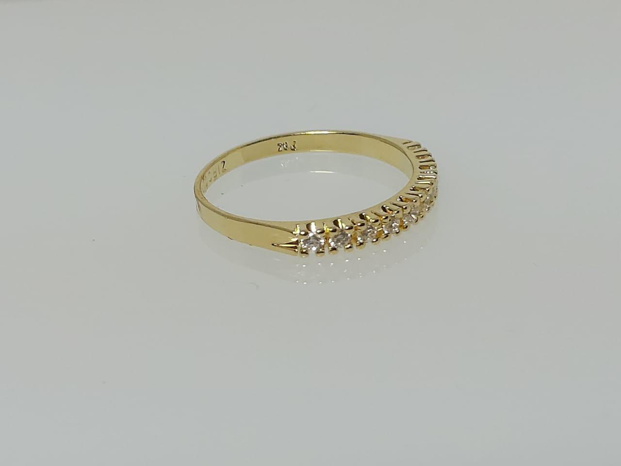 Meia Aliança com Zircônia Diamante GC Folheado a Ouro 0361313020150