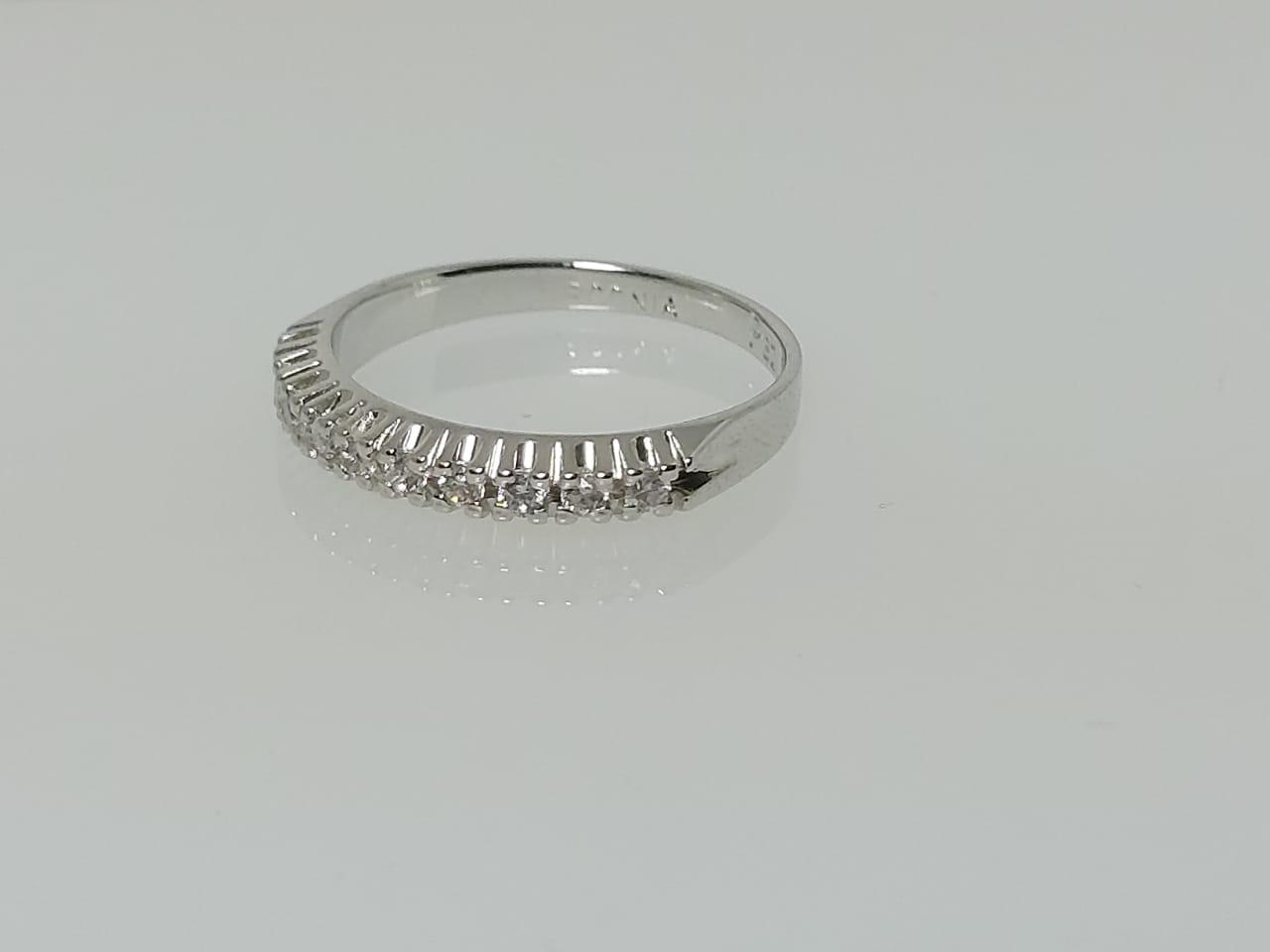 Meia Aliança Zircônia Diamante GC Folheadoa Rhodium 0350126020000