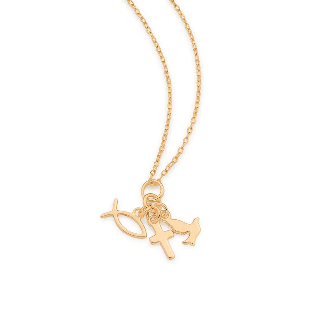 Pingente Rommanel com berloques folheado a ouro 542266 med. 2,0 x 1,10 cm