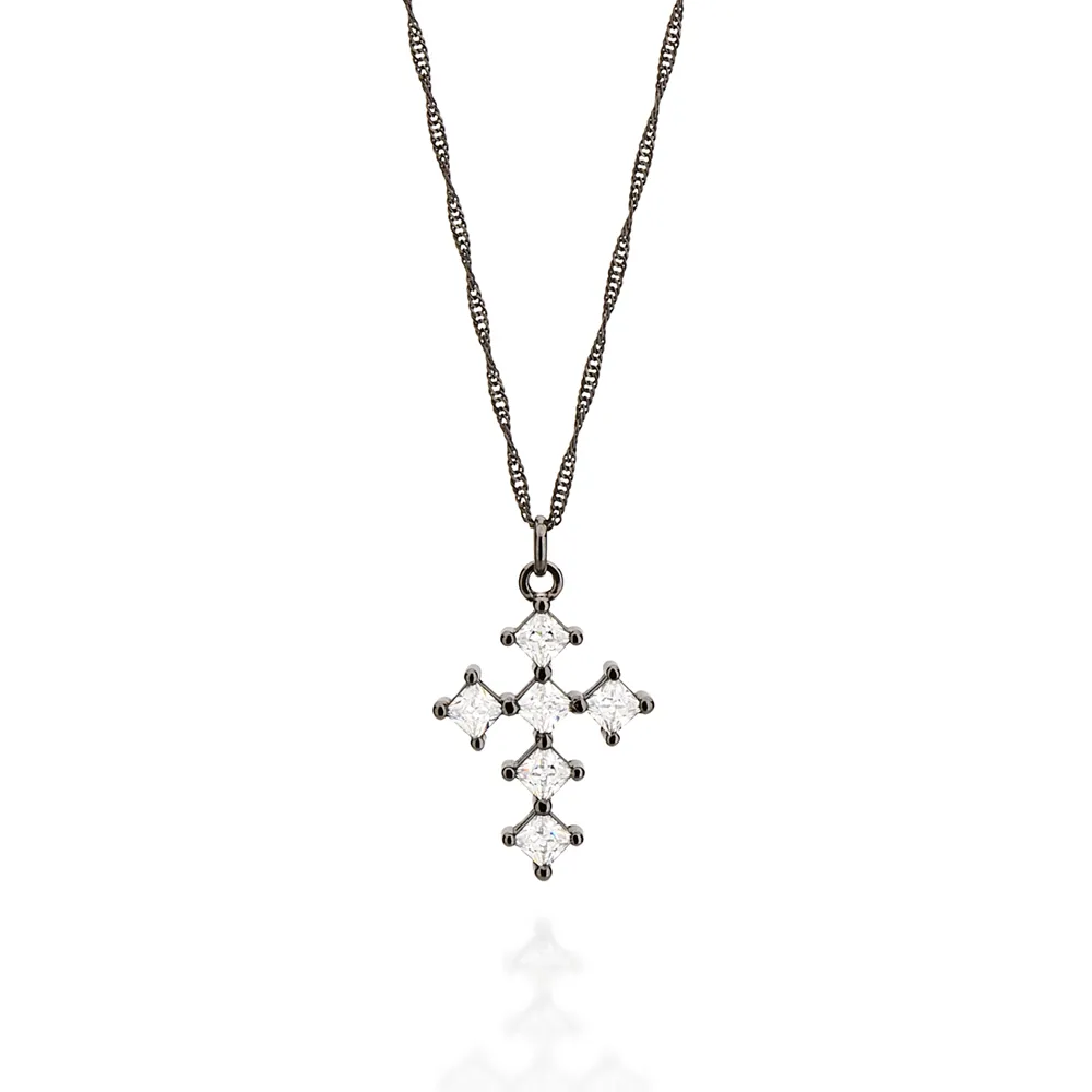Pingente Rommanel 440002 rodium negro cruz com zircônias med. 3,2 x 1,9 cm