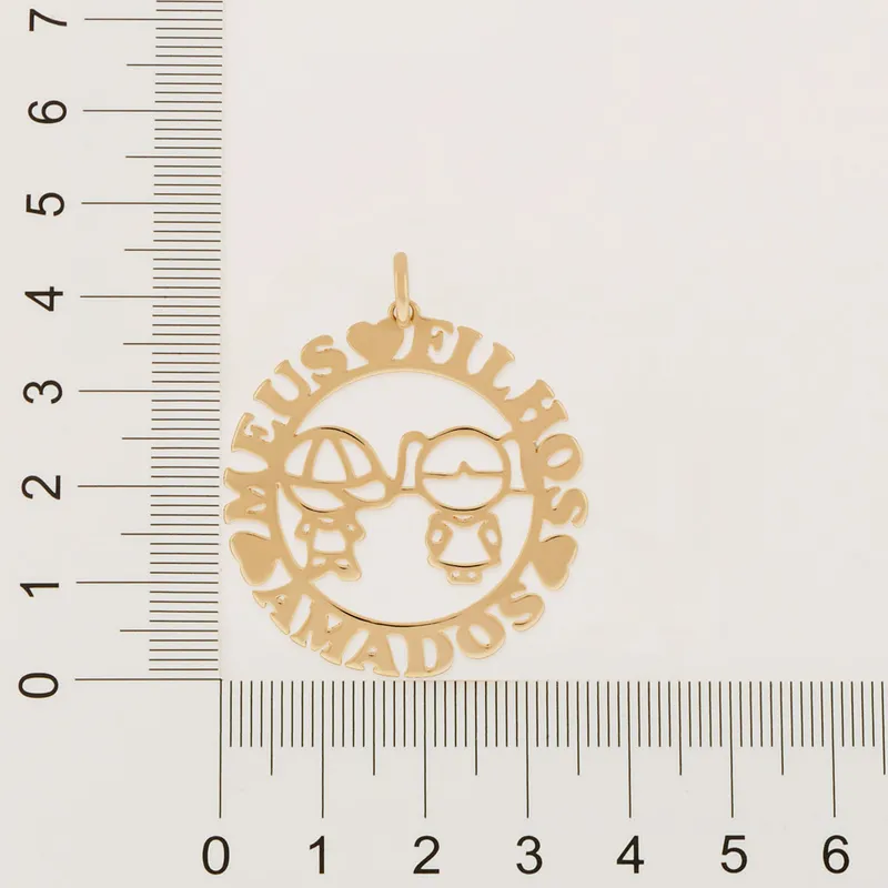 "Pingente Rommanel 541994 escrita "" meus filhos amados "" med. 4,20 cm"