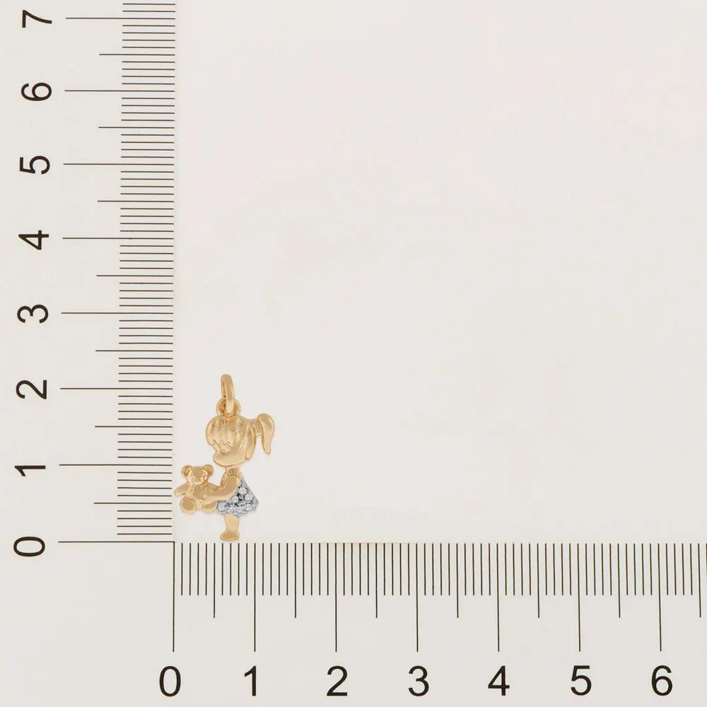Pingente feminino rommanel 542023 menina com urso