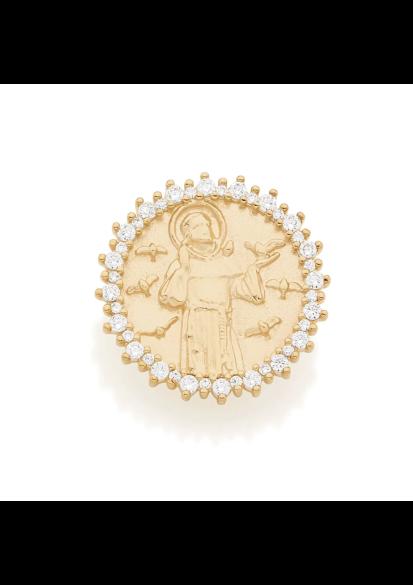 Pingente Rommanel 542145 formato medalha são francisco assis com zircônias med. 2,0 cm diâmetro