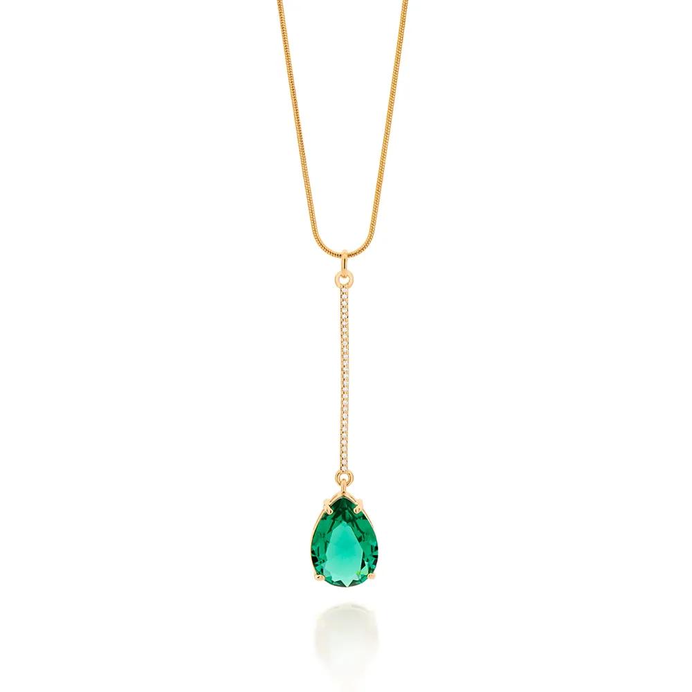 Pingente Feminino rommanel 542233 cristal verde e zircônias med.6,4 x 1,30 cm
