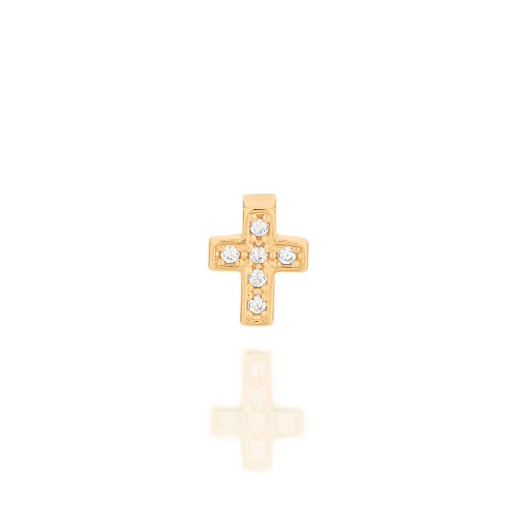 Pingente Rommanel cruz 542251 com zircônias med. 0,8 x 0,7 cm