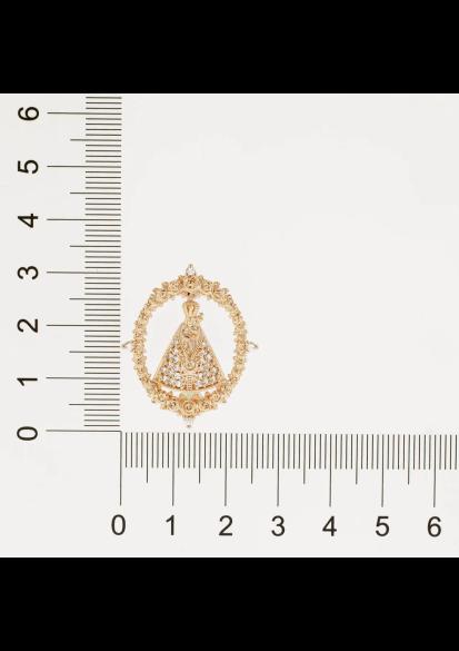 Pingente Rommanel nossa senhora aparecida 542245 med. 3,0 x 2,50 cm