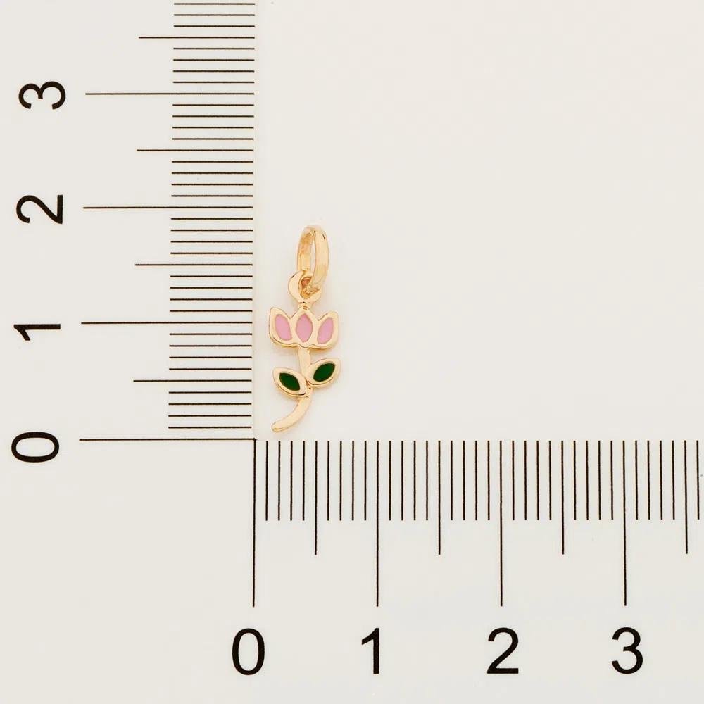 Pingente Rommanel Infantil flor tulipa com aplicação de resina 542261 med. 1,8 x 0,60 cm