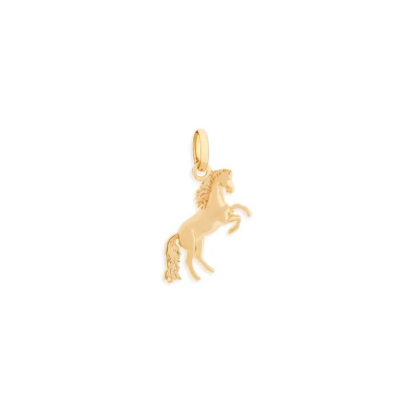 Pingente Rommanel folheado a ouro no formato de cavalo 542046 med. 2,5 cm