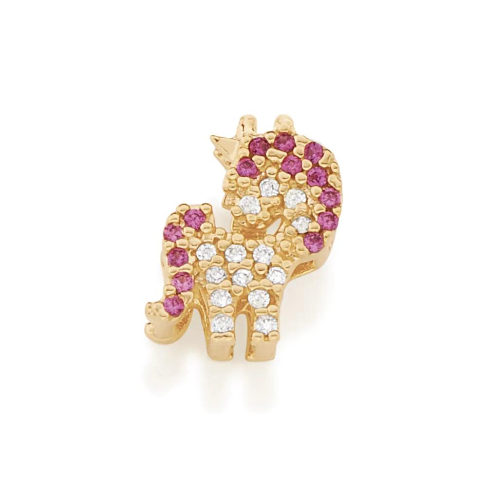 Pingente Rommanel folheado a ouro no formato de unicórnio 542174