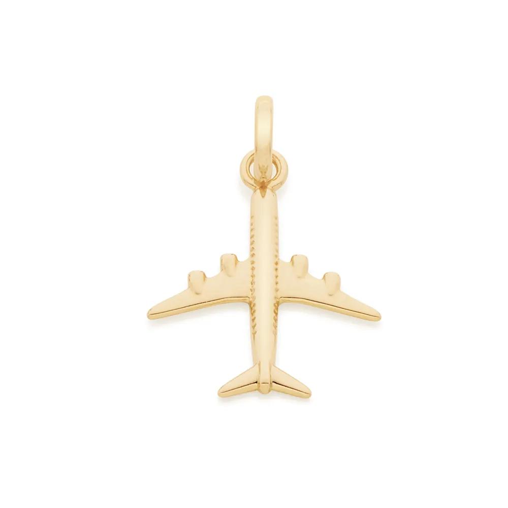 Pingente Rommanel Infantil folheado a ouro no formato de avião 542171