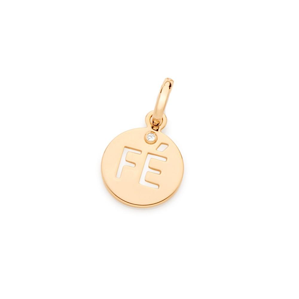 Pingente medalha da fé Rommanel folheado a ouro 542136