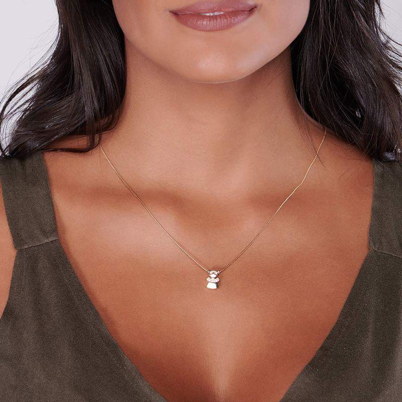 Pingente Rommanel 542143 Menina com zircônias med. 1,30 x 0,9 cm