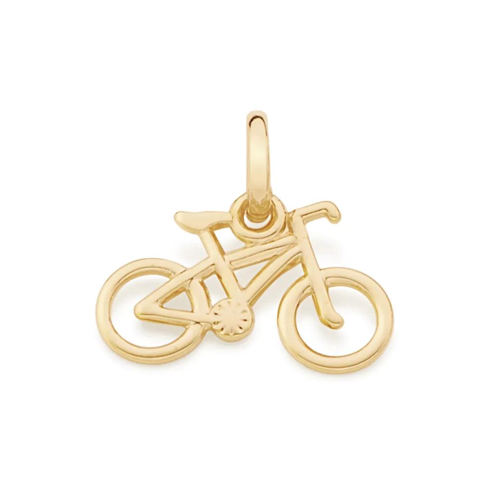 Pingente Rommanel 542160 formato de bicicleta folheado a ouro