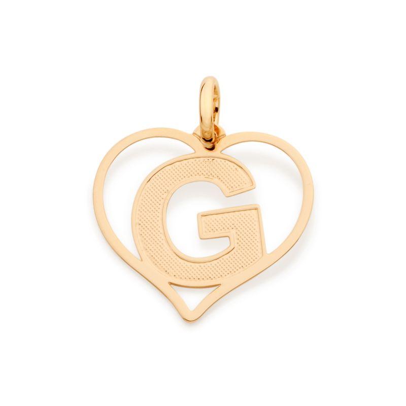 """Pingente Rommanel 542211 Coração com Letra """" G """" Folheado a Ouro"""
