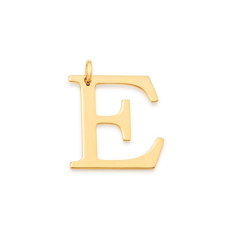 """Pingente Rommanel 542323 Letra """" E """" Folheado a Ouro"""