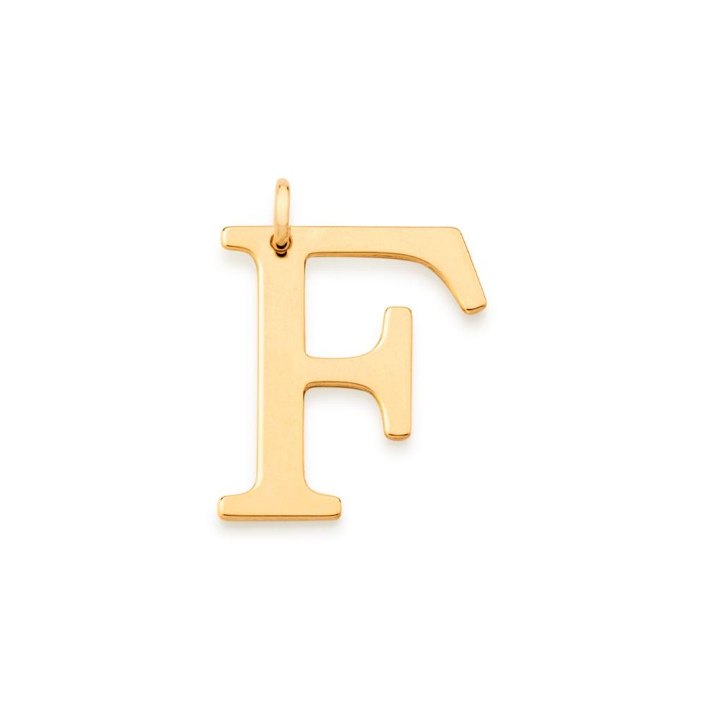 """Pingente Rommanel 542323 Letra """" F """" Folheado a Ouro"""