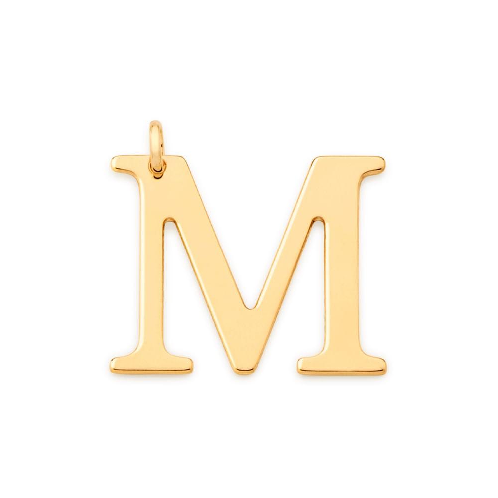 """Pingente Rommanel 542323 Letra """" M """" Folheado a Ouro"""