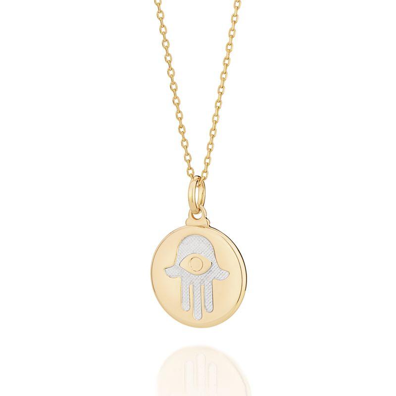 Pingente Rommanel Mão de Fátima com olho grego folheado a ouro 542228