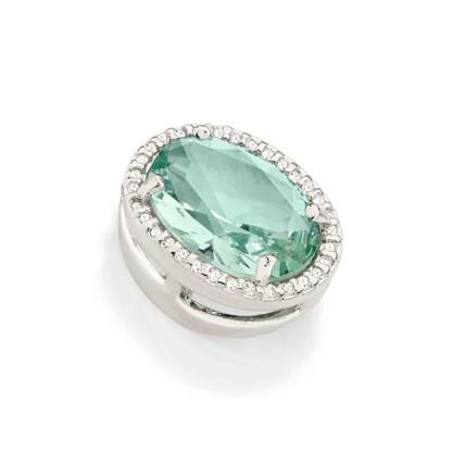 Pingente Rommanel Oval folheado a rhodium com cristal e zircônias 140826