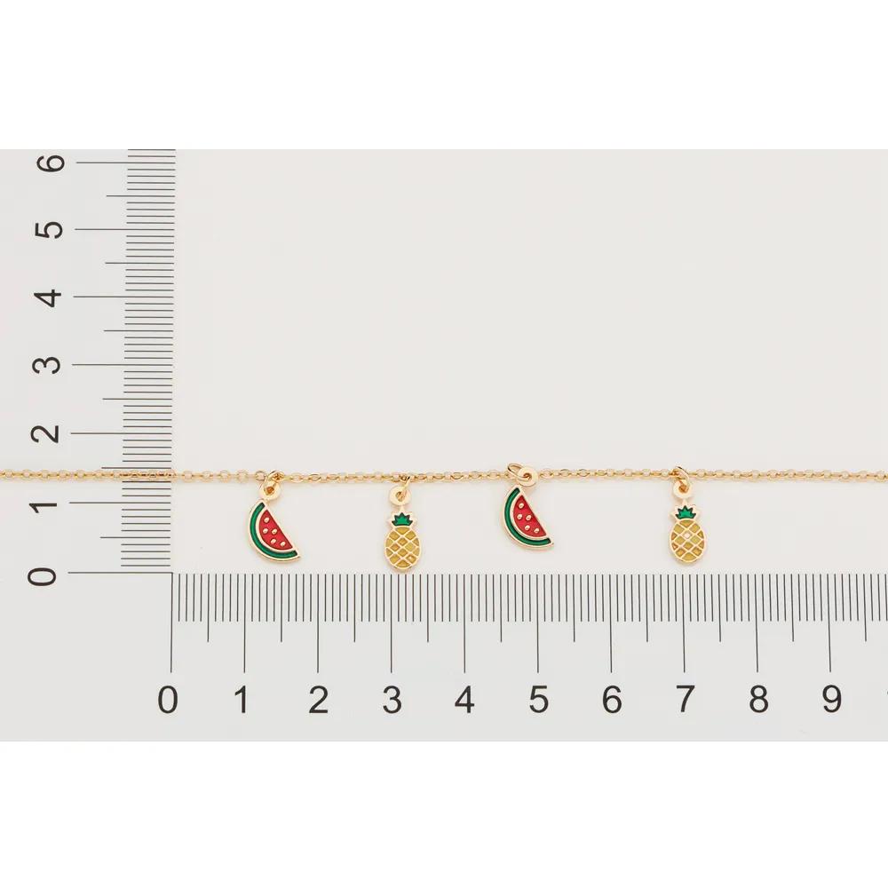 Pulseira Rommanel 551658 com Pingentes de Abacaxis e Melancias Med. 19 cm