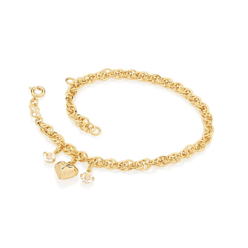 Pulseira Rommanel 550906 com berloque e cristais folheada a ouro