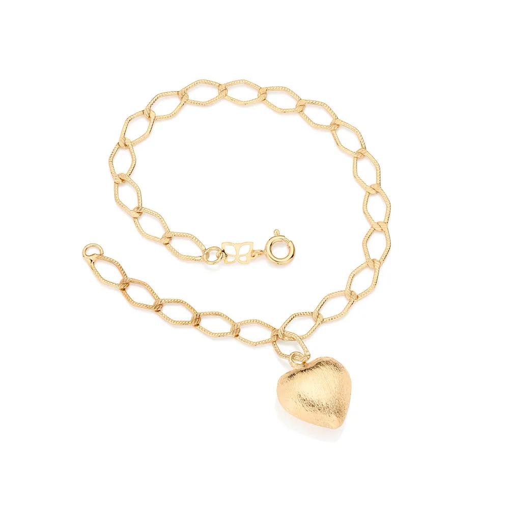 Pulseira Rommanel 550964 folheada a ouro com coração