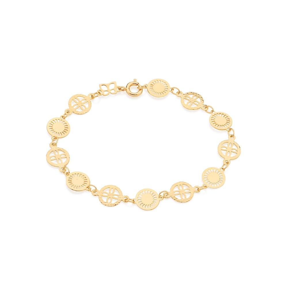 Pulseira Rommanel 551221 com Flores folheada a ouro
