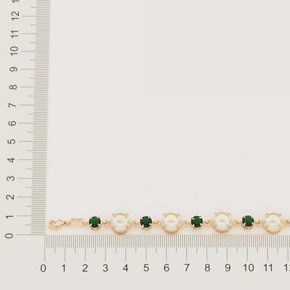 Pulseira Rommanel com pérolas e cristais folheado a ouro 551689