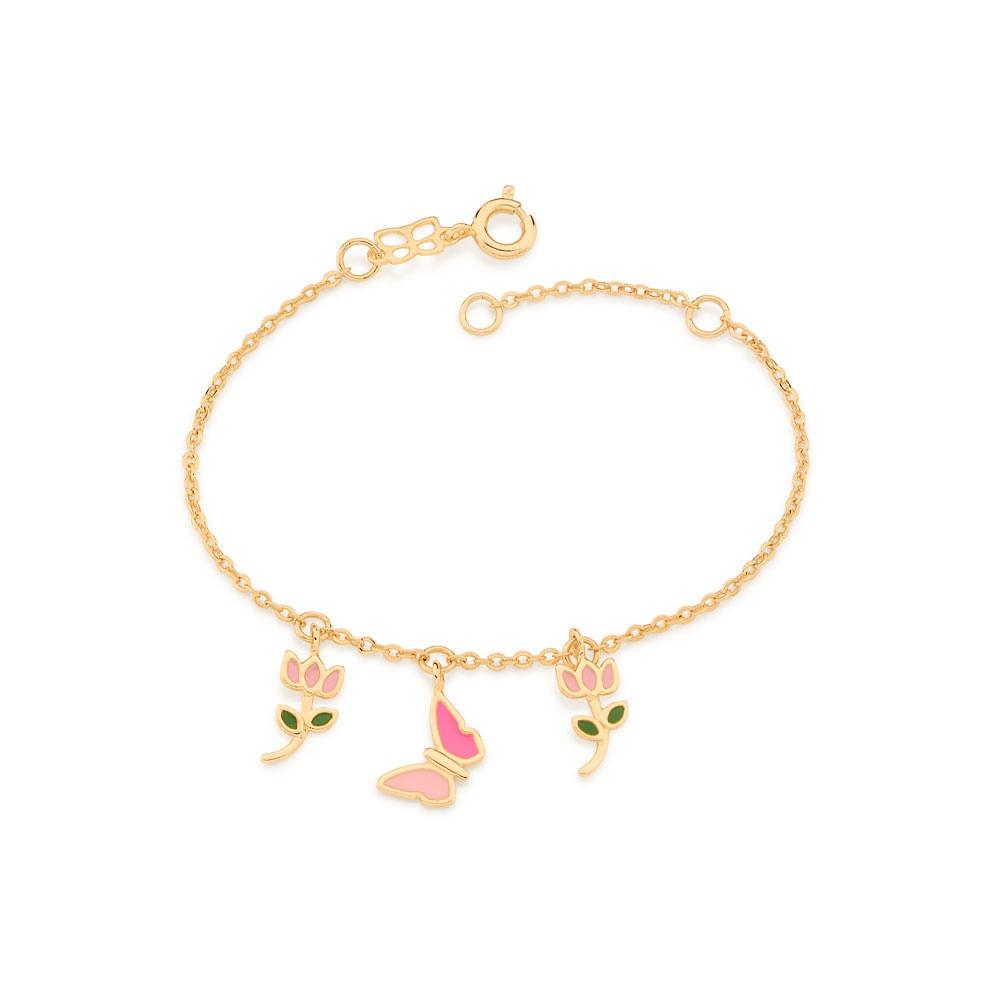 Pulseira Rommanel Infantil borboleta e flor folheada a ouro 551673