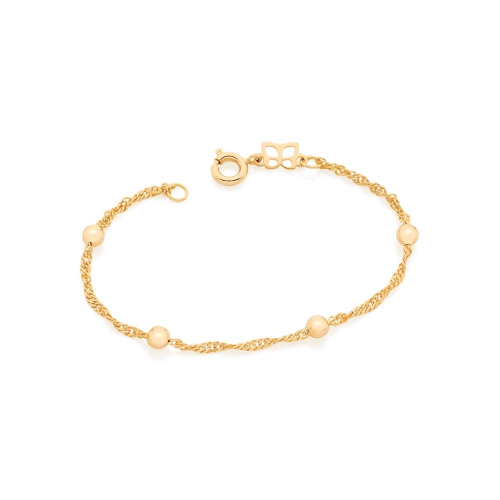 Pulseira Rommanel Infantil folheada a ouro 551392 ou Bebê 14 cm